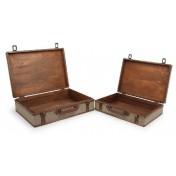 Valises en bois recouvertes de tissu