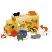 Le camion en bois du zoo avec animaux