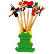 Crayons avec figurines sur ressort