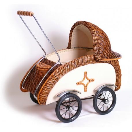 Landau de poupée Rotin tressée rétro