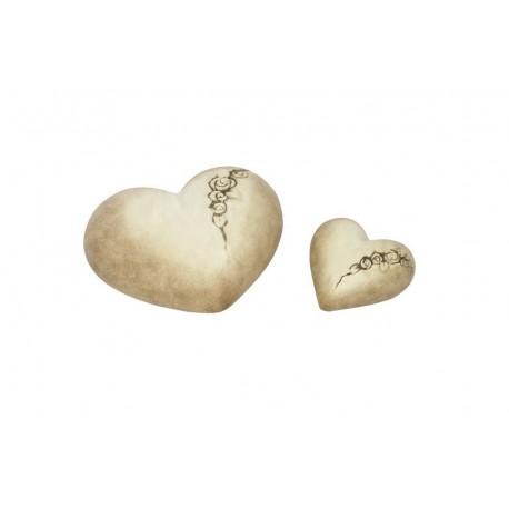 Coeurs en céramique beige Roses