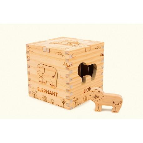 Cube en bois Safari